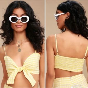 Faithful the brand yellow gingham tie front top m